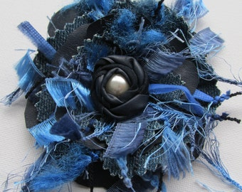 Blue flower, leather flower corsage, lagenlook corsage, leather  denim corsage, upcycled denim brooch with pearl, shabby chic corsage Ruby62