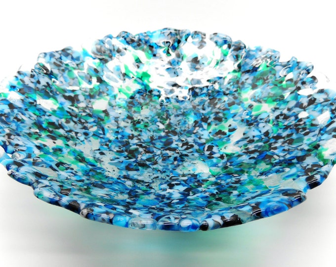 Round blue marble effect recycled glass dish in blend mix of blue and emerald. Contemporary art glass gifts. Birthday housewarming, wedding