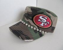 SF 49er Cadet Hat, SF, 49er, Football Team,San Franciso Hat, Bling Hat, Camo Hat, Womens Hat, Sworovski Crystal Hat