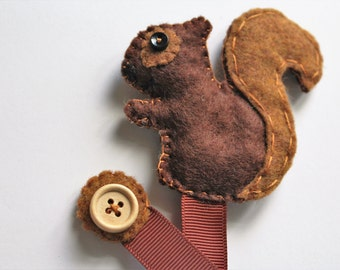 Squirrel Bookmark, Felt Bookmark, Woodland Squirrel, Ribbon Pagemarker, Handmade Bookmark, Animal Bookmark, Unique Bookmark