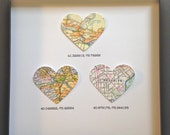 3 Framed Heart Maps With Text - Choose Your Maps - Map Art - Maps with Coordinates - Wedding or Anniversary Gift - Heart Shaped Maps