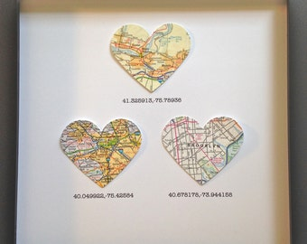 Five Customized Map Hearts Gift for Traveler Framed Heart