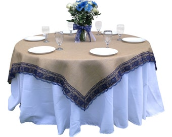 72 X 72 Inches   Burlap NAVY/DARK BLUE Lace Edged Table Overlay /