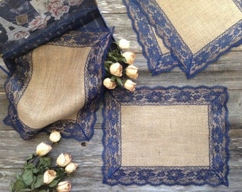 Burlap Placemats with NAVY/DARK BLUE Lace, Country Wedding, Rustic Country Wedding, Farmhouse Decor/Rustic Country Home/French Country Decor