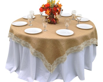 48 X 48 Inches   Burlap IVORY Lace Edged Table Overlay / Tablecloth For  Rustic