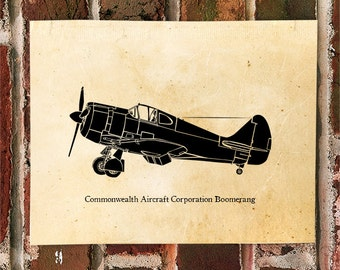 KillerBeeMoto: Limited Print Commonwealth Aircraft Corporation Boomerang Fighter Aircraft Side View Print 1 of 50