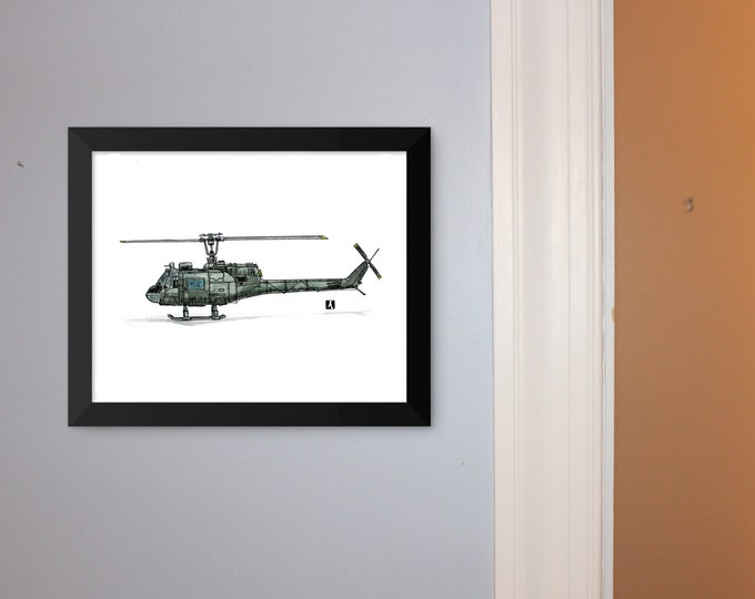 KillerBeeMoto: Bell UH-1 Iroquois Pen & Ink With Water Color Effect Limited Print 1 of 100