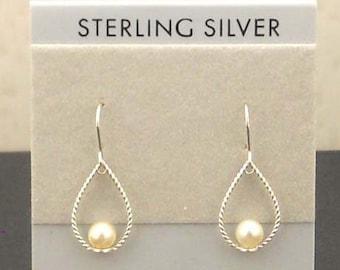 White Pearl Sterling Silver Earrings