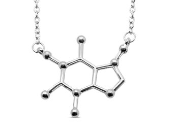 Caffeine Molecule Alloy Necklace - Coffee Lover Gift, Coffee Jewelry, Molecule Jewelry, Cute Jewelry, Chemistry Necklace, Science Necklace