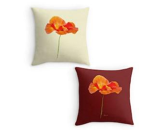 Poppy Throw Pillow, Flower Scatter Cushion, Cream, Red 16x16 18x18 20x20, Cushion Cover