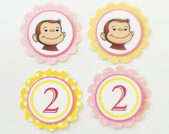 CURIOUS GEORGE Pink POLKA Dot Gift Tags/Cupcake Toppers (12ct)