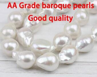 13-15mm AA large baroque pearl strand,white jumbo flameball pearl bead,big fireball nucleated pearl strand, freshwater pearls,good quality