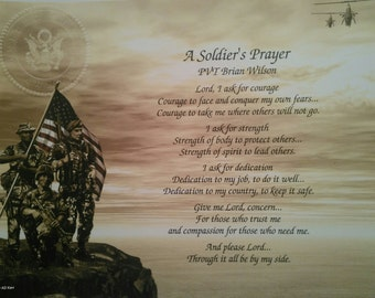 Gift for Army A Soldier's Prayer Father's Day Birthday Husband Dad Son Brother Daughter Wife Mom Graduation Retirement Veterans Day MIlitary