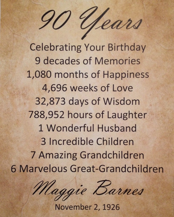 90th Birthday Gift Personalized Birthday by WePersonalizeGifts
