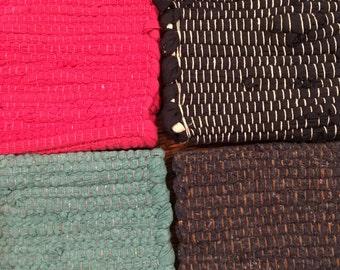 Hand Woven Rag Rug 21 x 34 inches - Chindi Rug - Scandanavian Rug - Woven Rug