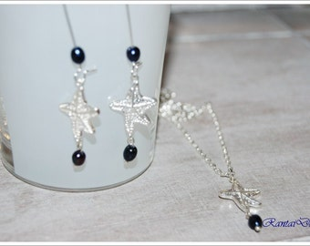 Jewelry Set with starfish and freshwater pearls in darb blue