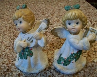 Porcelain Christmas Angels Homco Playing Instruments