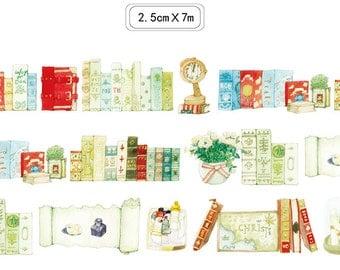Vintage Books Washi Tape -- Japanese Washi Tape -Deco tape--25mm x7M