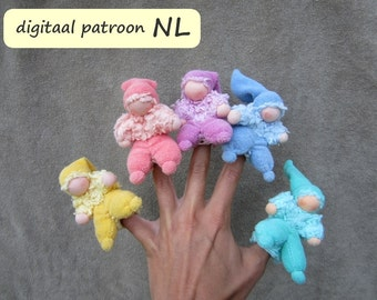 Pattern with instruction in Dutch for finger puppet 'Duimpie', PDF download.
