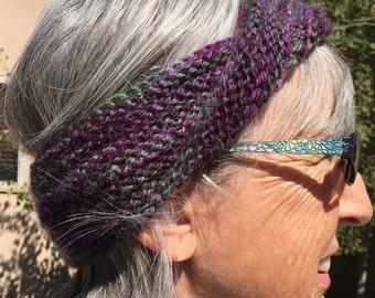 Handknit wool mobius headband