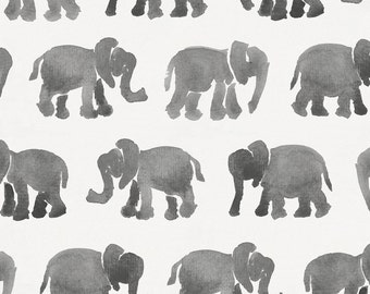 Gray Watercolor Elephants Organic Fabric - By The Yard - Girl / Boy / Gender Neutral