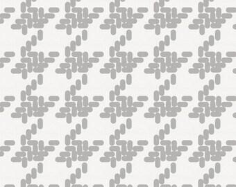 Silver Gray Modern Houndstooth Fabric - By The Yard - Gender Neutral / Girl / Boy