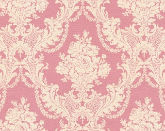Rose Pink Damask Fabric - By The Yard - Girl / Fabric / Vintage