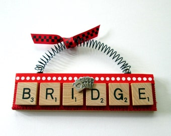 Bridge Love to Play Bridge Scrabble Tile Ornament