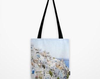 Santorini Greece Tote Bag, Santorini Tote Bag, Summer Bag, Gym Bag, Shopping Bag, Girls Fashion Tote, Book Bag, School Tote, Gift Idea, Fira