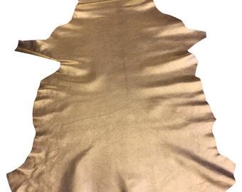 Gold Lambskin Leather Metallic Finish Sheepskin Hide DIY Craft Material FS908-6