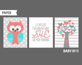 Baby Girl Nursery art prints, Set of 3 11x14. Owl, Tree, Let her sleep, Coral and Turquoise nursery ( NPHO1114023 )