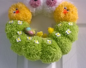 "Easter Wreath handmade alternative pompom wreath approx 12"" 30cm dia, Available also as PDF pattern in my shop to make your own!!"
