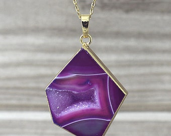 Purple Rose Agate Geode slice Pendant Druzy Agate Electroplated 24k Gold - You choose (S5Y14-21)