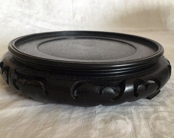"Vintage Chinese Hardwood Carved Wood Stand 7"" inside Diameter"