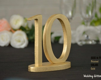 SET 1/35, Gold Table Numbers for Wedding, Wooden Table Numbers, Rustic Wedding