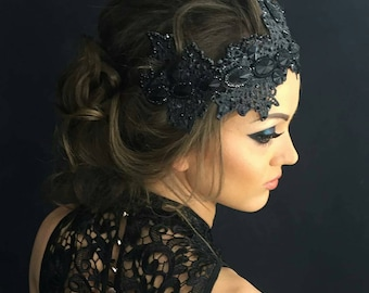 Black crown fascinator headband mistress Prom hair accessory party costume Evil queen Black swan shower lace crown bachelorette sexy special