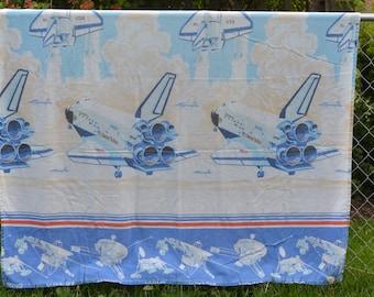 80s Columbia Space Shuttle NASA Twin Flat Sheet Bedding Space Exploration