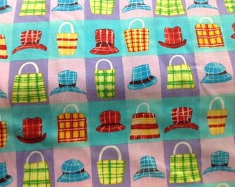 Whimsical Alexander Henry Fabric with Hats and Purses .........NEW off the Bolt