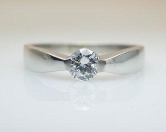 Vintage Engagement Ring Solitaire Engagement Ring Platinum Modern Engagement Simple Wedding Ring Dainty Diamond Engagement Simple Diamond