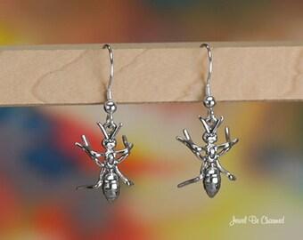 Sterling Silver Ant Earrings Pierced Fishhook Earwires Solid .925 Ants