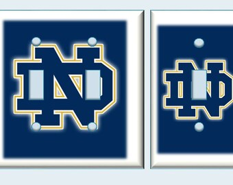 Notre Dame logo Fighting Irish Light switch cover blue // Back to School // SAME DAY SHIPPING **