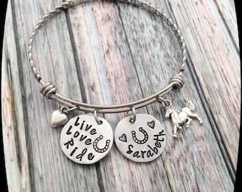 Horse Jewelry, Horse Bangle Bracelet, Live Love Ride, Horse Bracelet, Horse Riding Gift, Horse Lover, Equestrian, Horse Barn Gift