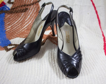 50s Black High Heels | 50s Black Heels | 50s Peeptoe Heels | 50s Leather Heels | Black Leather Heels | 50s Heels | Black Peeptoe Heels  7 US