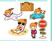 "4x5"" Kawaii Travel Trip Label Plan Planner Planning Cute Sticker Stickers for Erin Condren Daily Personal Amelie #0482"