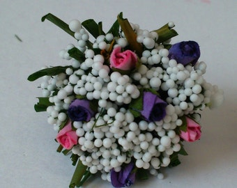 Dollhouse Miniature Bouquet of Roses and Gypsophelia.