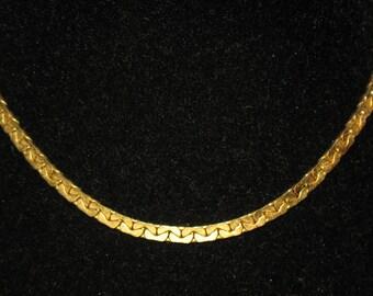 Vintage Kramer Gold Tone Flat C Link Chain Necklace 15 inch