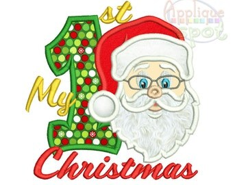 My First 1st Chrismas with Santa <4 sizes included: 4x4 5x7 6x10 7x12> Applique Design Embroidery Machine -Instant Download File