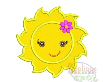 Cute Sunshine Girl and Boy <6 sizes included 2x2 3x3 4x4 5x7 6x10 7x12> Applique Design Embroidery Machine -Instant Download File