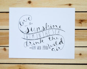 Live in the Sunshine // Printable Emerson Quote // Handlettering