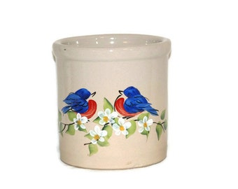 Roseville-Roseville, Ohio-Robinson Ransbottom-pottery-2 quart jar-2 qt crock-2 quart crock-hand painted-Nancy Gribble-signed-blue birds